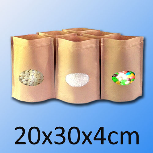 Pouch Kraft-Bag Ziplock-Bags Window Round 100pcs/Lot with 20x30x4cm