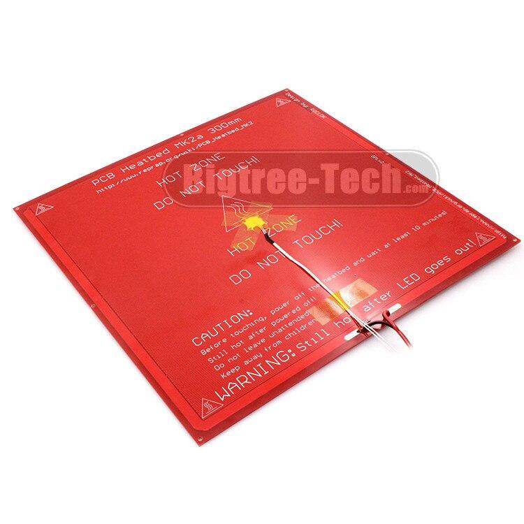 MK2A 300*300*2.0mm RepRap RAMPS 1.4 PCB Heatbed+LED Resistor + Cable + Thermistors For Mendel For 3D Printer MK2B 2 in 1 pcb board reprap mendel pcb heated bed mk2b for mendel 3d printer hot bed 150 230mm 12v heatbed