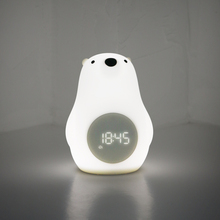 Modern cartoon polar bear  small night light with clock creative LED bedside lamp for Children bedroom recharge light