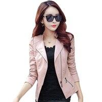 2017 Hot Spring Autumn Slim Women S Short PU Leather Jackets Coat Zipper New Ladies Basic