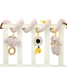Baby Toys Infant Cute Animal Bed Hanging Bell Stroller Pendant with Safety Mirror Toy Plush Rattle Music