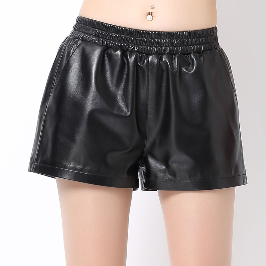 Shorts Women Mid-Waist Elastic Feminino Black Winter Genuine-Leather Fashion All-Match