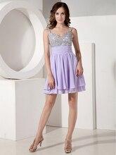 Short A-linie Lavender Chiffon Abendkleid Mit Riemen Für Junioren Mini Perlen Crystls Mädchen Graduation Kleider Mit Trägern cd6681