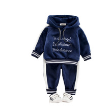 купить 2019 Autumn Winter Baby Girls Boys Clothing Sets Kids Casual Letter Hooded Thicken Velvet T Shirt Children's Sports Suit Clothes дешево