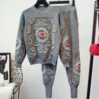 2018 Embroidery Flowers Sequined beading Ladies Vogue Fashion Knitting Jumpers Trousers two pieces sets