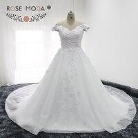 Rose Moda V Cổ 3D Hoa Arabic Wedding Dresses Tắt Vai Công Chúa Đám Cưới Bóng Gown Thổ Nhĩ Kỳ Bán Hoàng Train