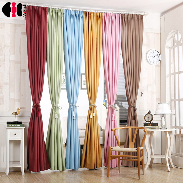 Green curtain thick Blackout Short Blue Curtains for bedroom Blinds