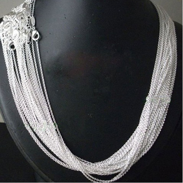 """Promotion! wholesale 50pcs/ lot bulk 925 stamped Silver Plated 1mm Link Rolo Chains 16"""",18"""" ,20"""",22"""",24 inch,925 women's Jewelry"""