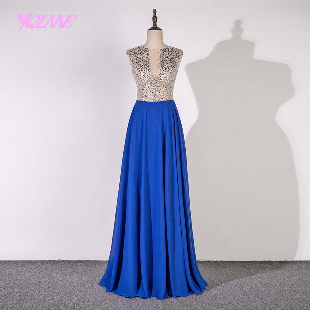 YQLNNE Royal Blue Long   Prom     Dresses   Chiffon Crystals Beaded Evening Party   Dress   2018