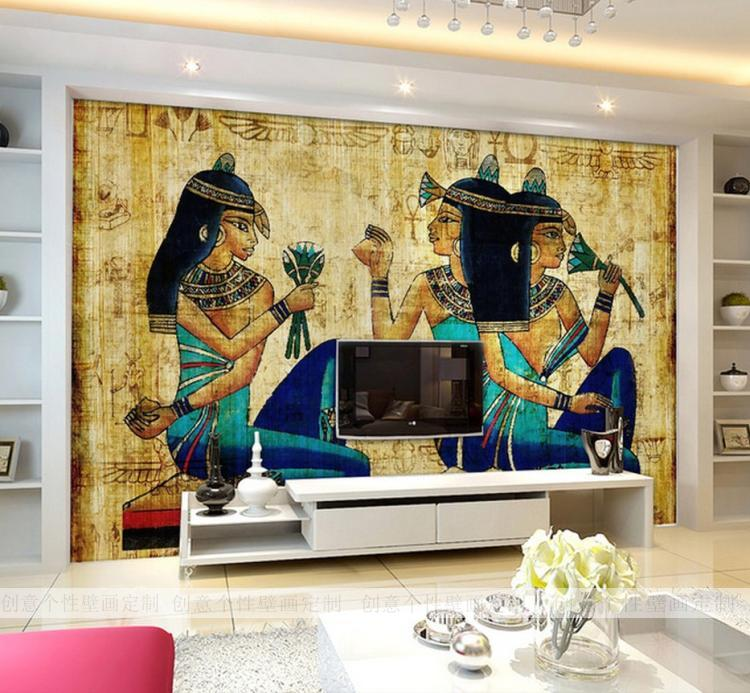 Custom photo wallpaper large mural wine bar ktv study room for Egyptian wallpaper mural