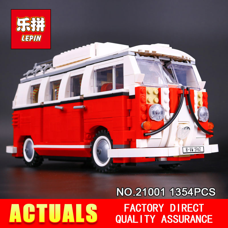 2016 New LEPIN 21001 1354Pcs Creator Volkswagen T1 Camper Van Model Building Kits  Bricks Toys Compatible 10220 Gifts lightaling led light set compatible with brand camping van 10220 building model creator decorate kit blocks toys