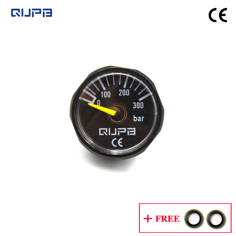 QUPB 1 Inch 300Bar High Pressure Gauges For Paintball Regulator Black 1/8NPT GES003