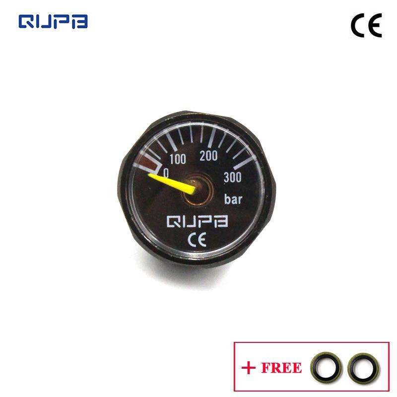 QUPB 1 Inch 300Bar High Pressure Gauges For Paintball Regulator Black 1/8NPT GES003