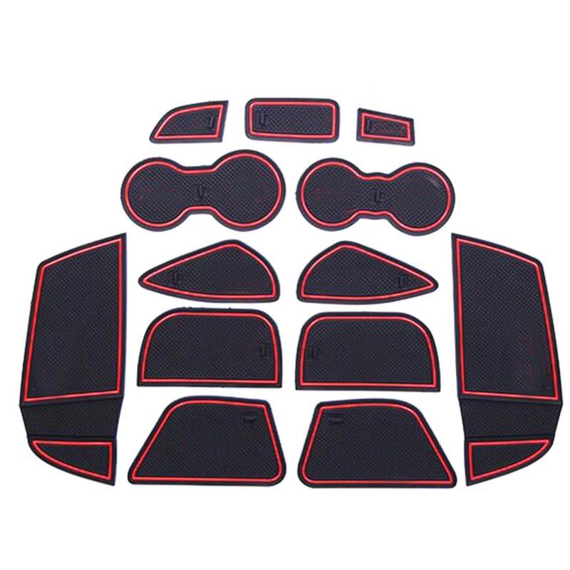 13 Teile/satz Auto Innen Tasse Matte Tür Tor Schlitzauflage Aufbewahrungsbox matte Aufkleber Für Ford Focus 3 2012 2013 2014 LHD Mit Logo