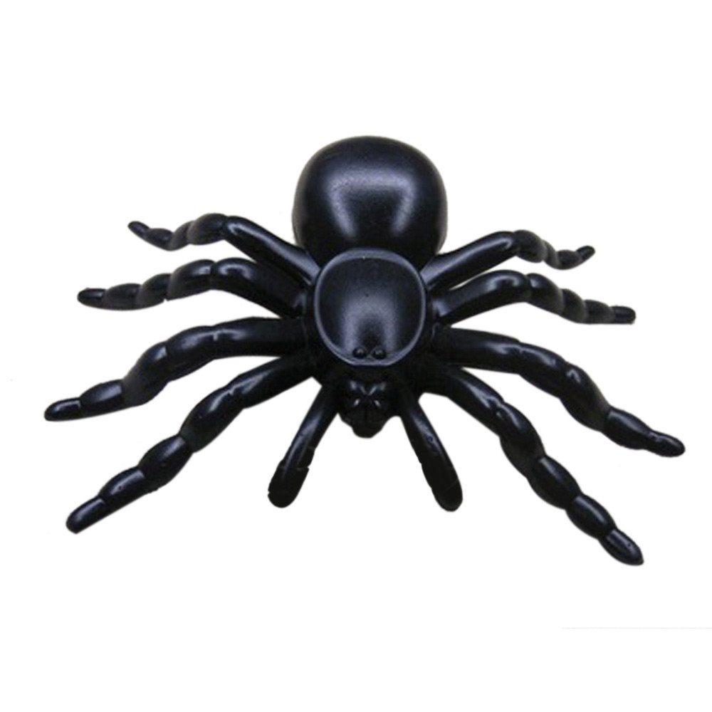 tao town 1 pc horror black plastic halloween supplies halloween plastic black spider joking toys decoration realistic wholesale - Halloween Supplies