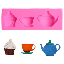 Kitchen Teapot Cup Silicone Bakeware Silicone 3d Baking Tools For Cakes Silicone Cake Decorating Molds Baking Stencils For Cakes цена и фото