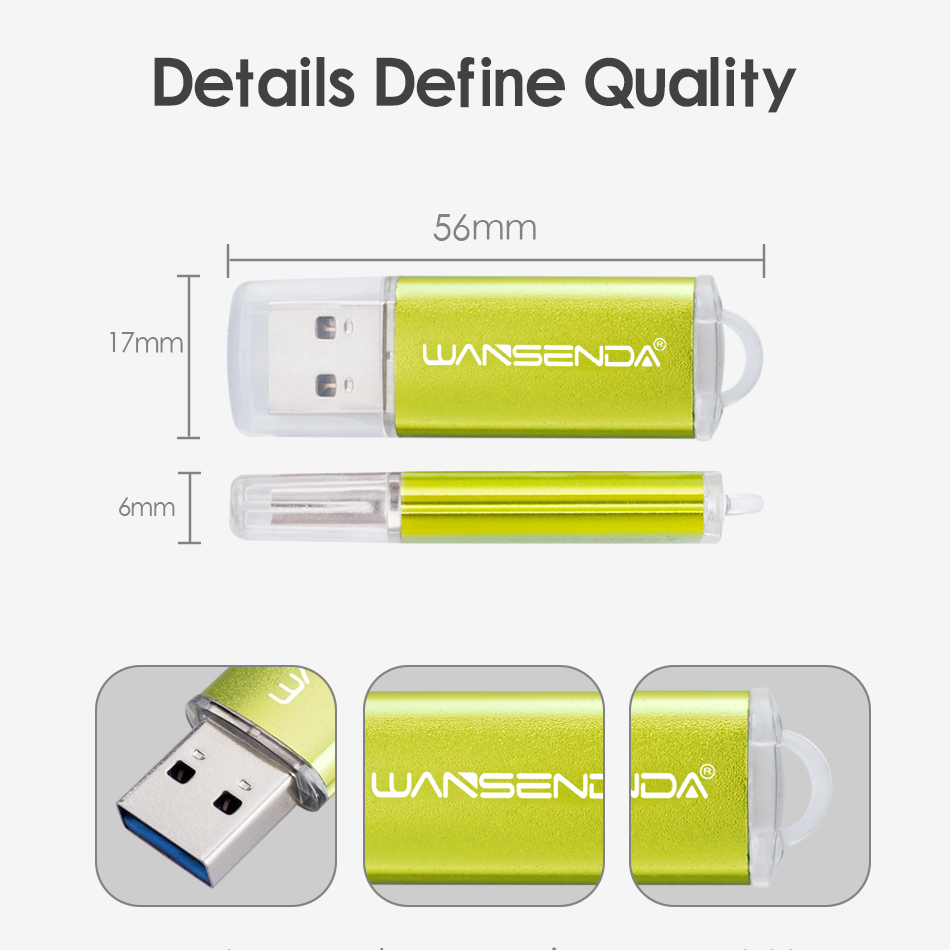 Image 4 - New WANSENDA USB 3.0 Flash Drive 128GB 64GB Metal Pen Drive 32GB 16GB 8GB High Speed USB Flash Memory Stick 3.0 Pendrive-in USB Flash Drives from Computer & Office