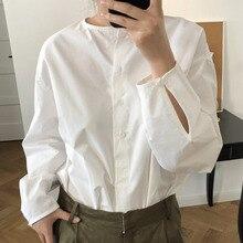 2020 LANMREM 春の新 無地長袖不規則なシングルブレストのシャツカジュアルプラス女性