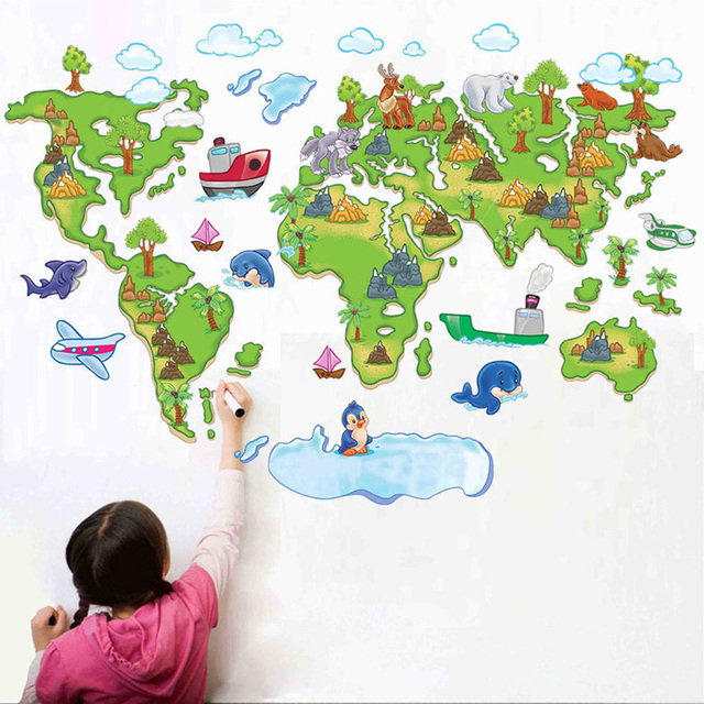 Large map of the world outline removable diy vinyl decals home large map of the world outline removable diy vinyl decals home decoration art mural for kids gumiabroncs Image collections