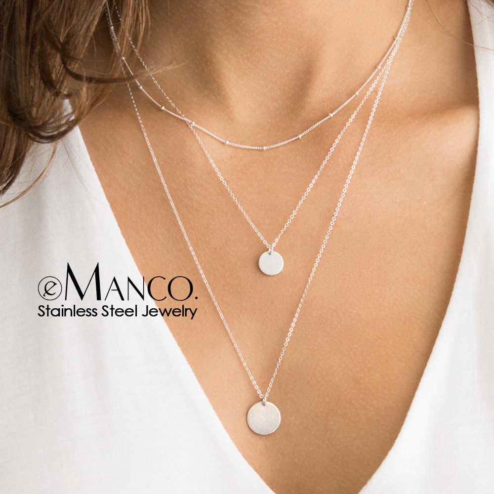 E-manco długi warstwowy naszyjnik kobiety urok wisiorek naszyjnik dla kobiet kolor srebrny łańcuch naszyjnik ze stali nierdzewnej