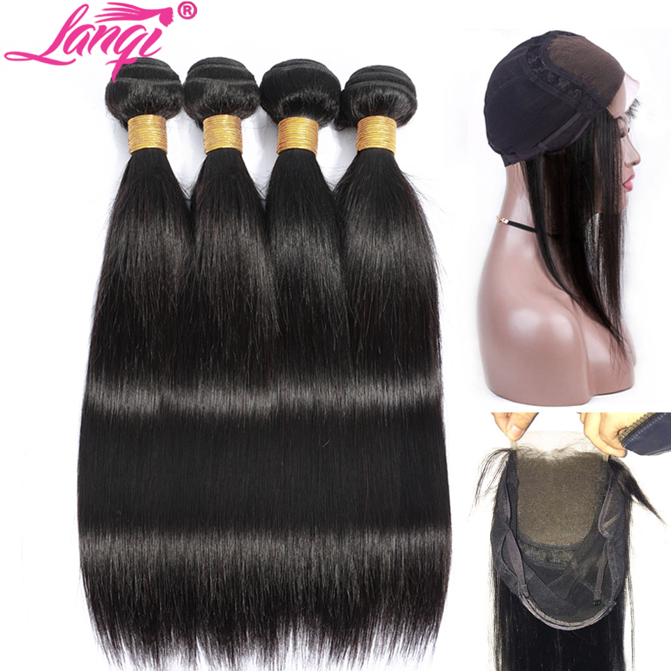 Lanqi Peruvian Straight Hair Bundles With Closure Human Hair Weave 2 4 Bundles With Closure 28 Inch Bundles With Closure Wig Cap