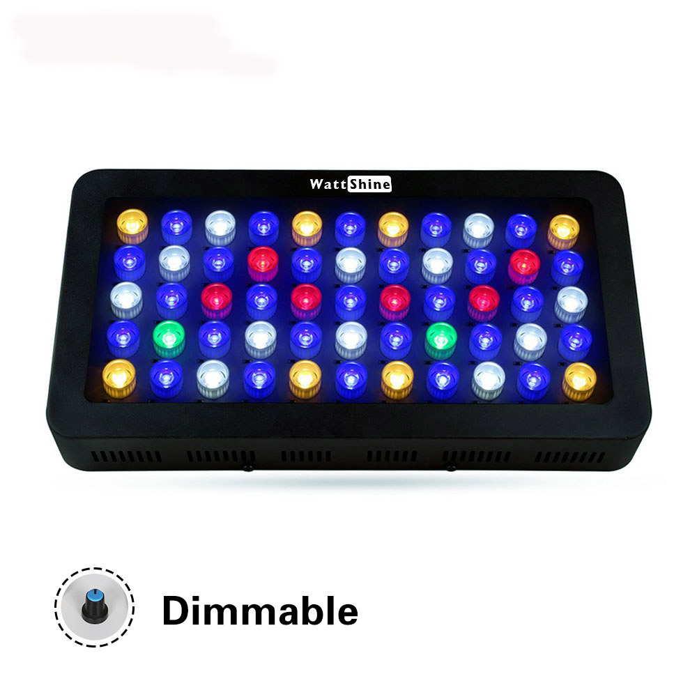 Free shipping New Dimmable led aquarium light 165W aquarium led for coral and reef tank lighting built with optical lens programmable 54w led aquarium light with flexible clip dimmable acuario light for reef coral aquario simulate sunrise and sunset