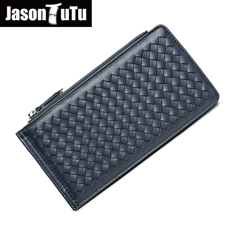 JASON TUTU Brand Men Wallets Multi-card bit wallet purse High quality PU Leather Black Hand Knitting carteira masculina B509