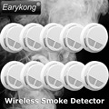 Free shipping 2016 Usage fire wireless Home Burglar Security Alarm FOR GSM alarm system NEW White10pcs wireless smoke detector