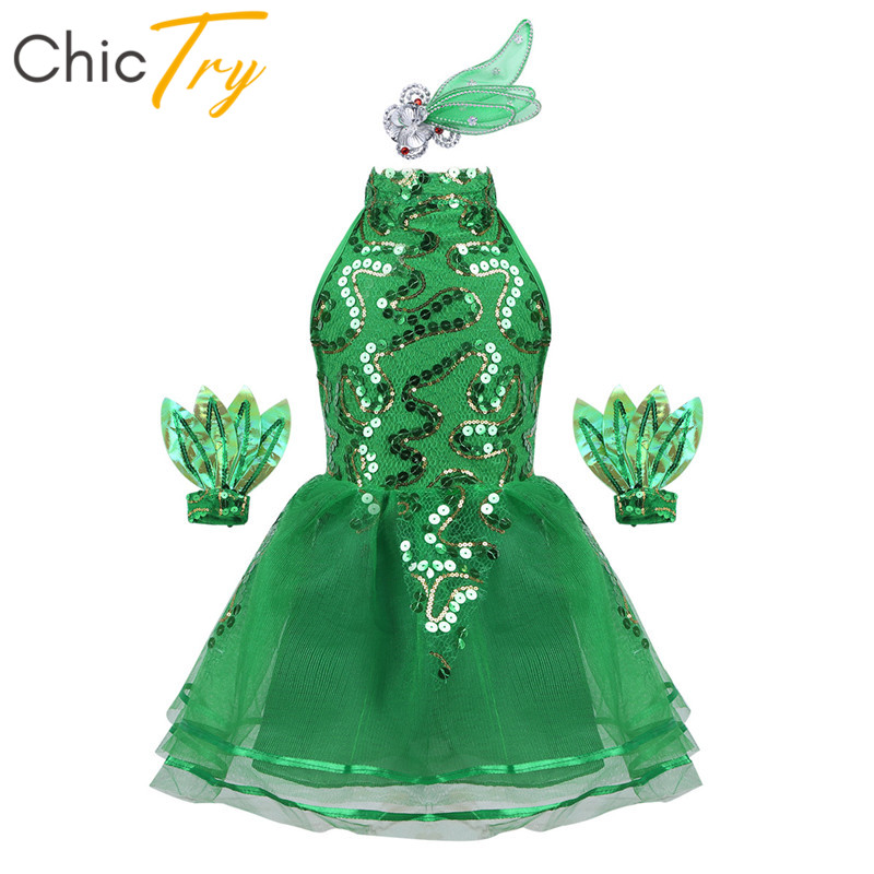ChicTry Kids Girls Sleeveless Green Shiny Sequins Stage Performance Jazz Dance Costume Children Girls Ballet Tutu Mesh Dress Set