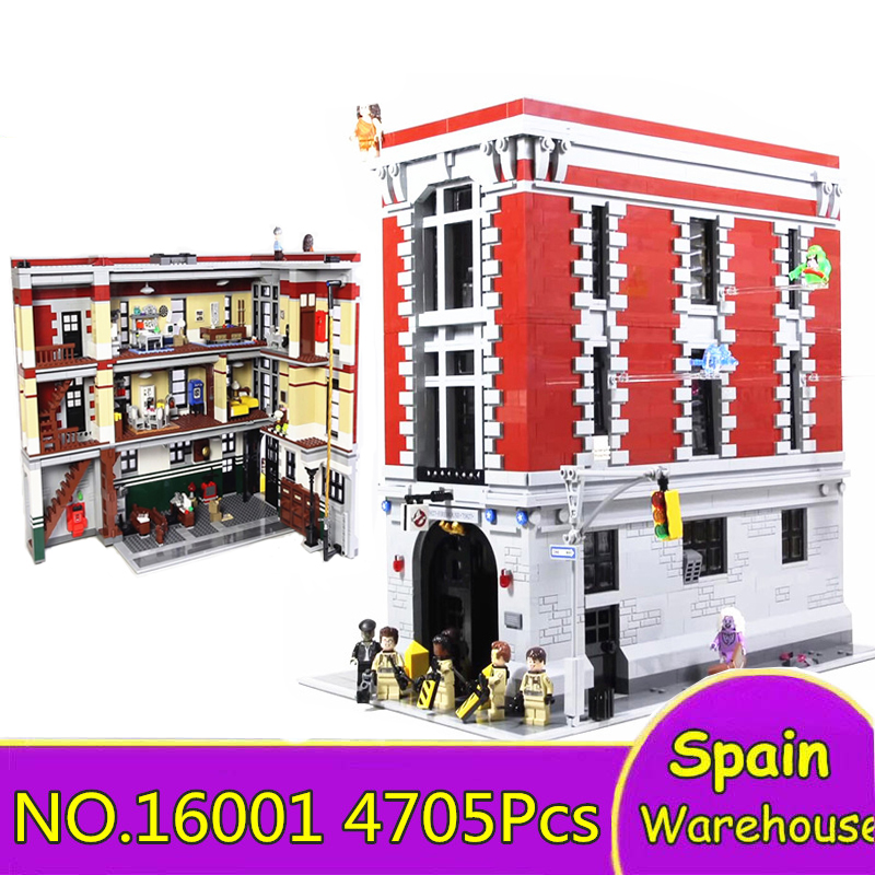 Ghostbusters Huose 16001 4705Pcs Firehouse Headquarters Brinquedos Building Blocks City Street 75827 Toys Gift Bricks