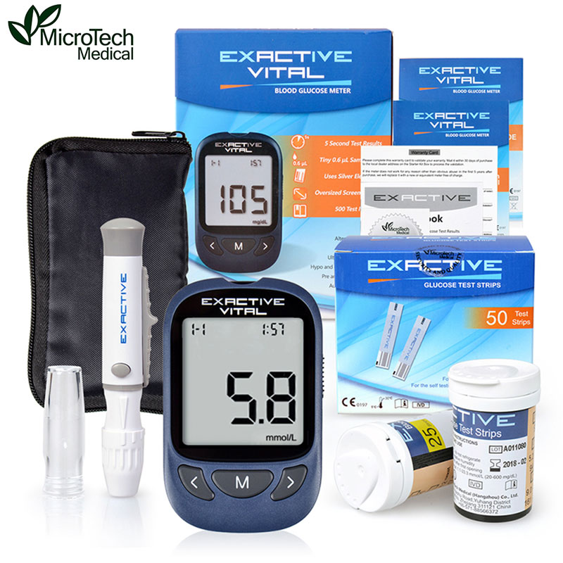 MICROTECH MEDICAL CE FDA Certificate Blood Glucose Meters Monitor Diabetics Test glycuresis Monitor 50 strips +50 Needles cofoe yice 100 pcs test strips and 100pcs needles lancets only strips without device for diabetes blood collection medical tools