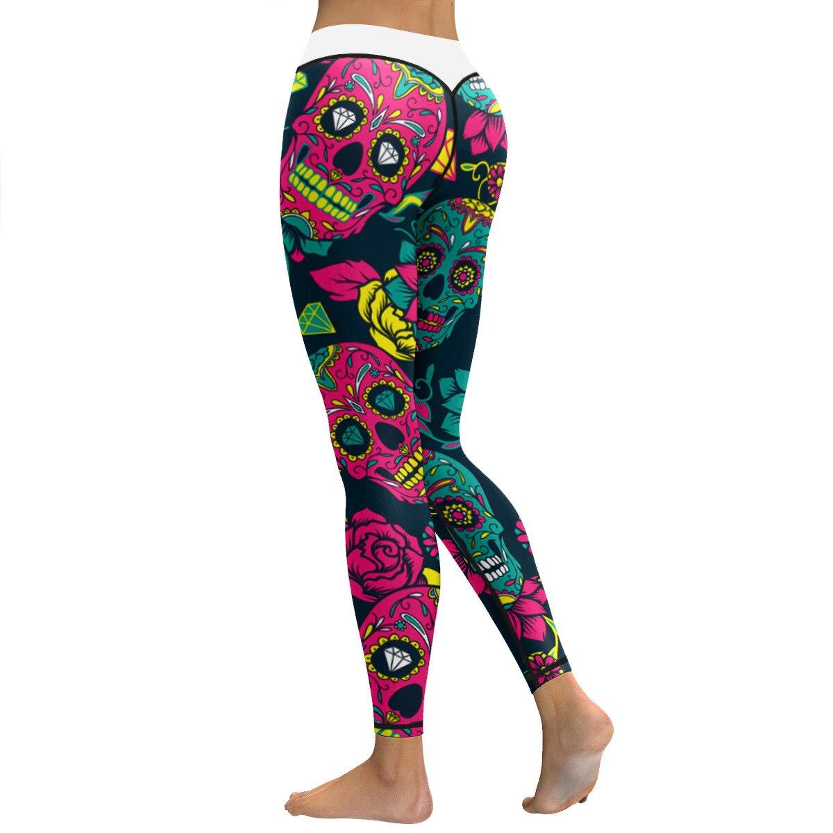 87f72687956c4 US $20.99 |JIGERJOGER Mint grün Push up Herz Legging Skeleton schädel  Halloween serie Sport Yoga Hosen Training pro power fitness leggings in ...