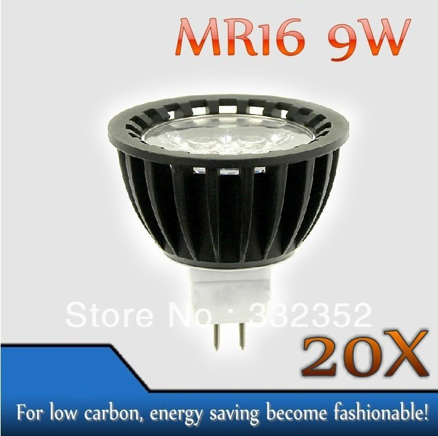 High power 20pcs/lot MR16  3leds Dimmable 3X3W 9W High Power LED Lights LED Bulb Lamp Led Spotlight