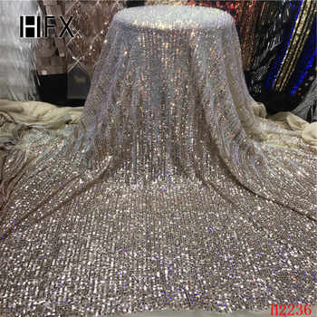 HFX Sequins Lace Fabric 2019 Bule sequins Nigerian Laces Fabric High Quality French Tulle Lace Fabric For Women Dress H2236