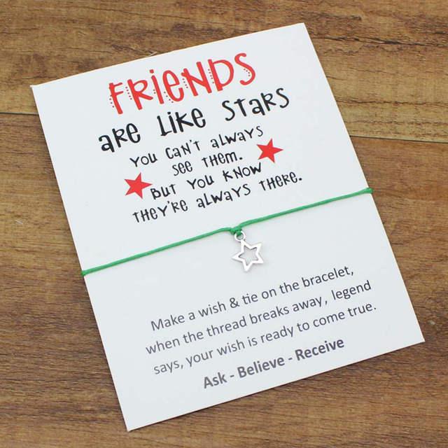 Online Shop New Design Sisters Lovely Handchain Wish Card Stars Bracelet For Best Friends Birthday Gifts Girlfriends Alloy Bracelets