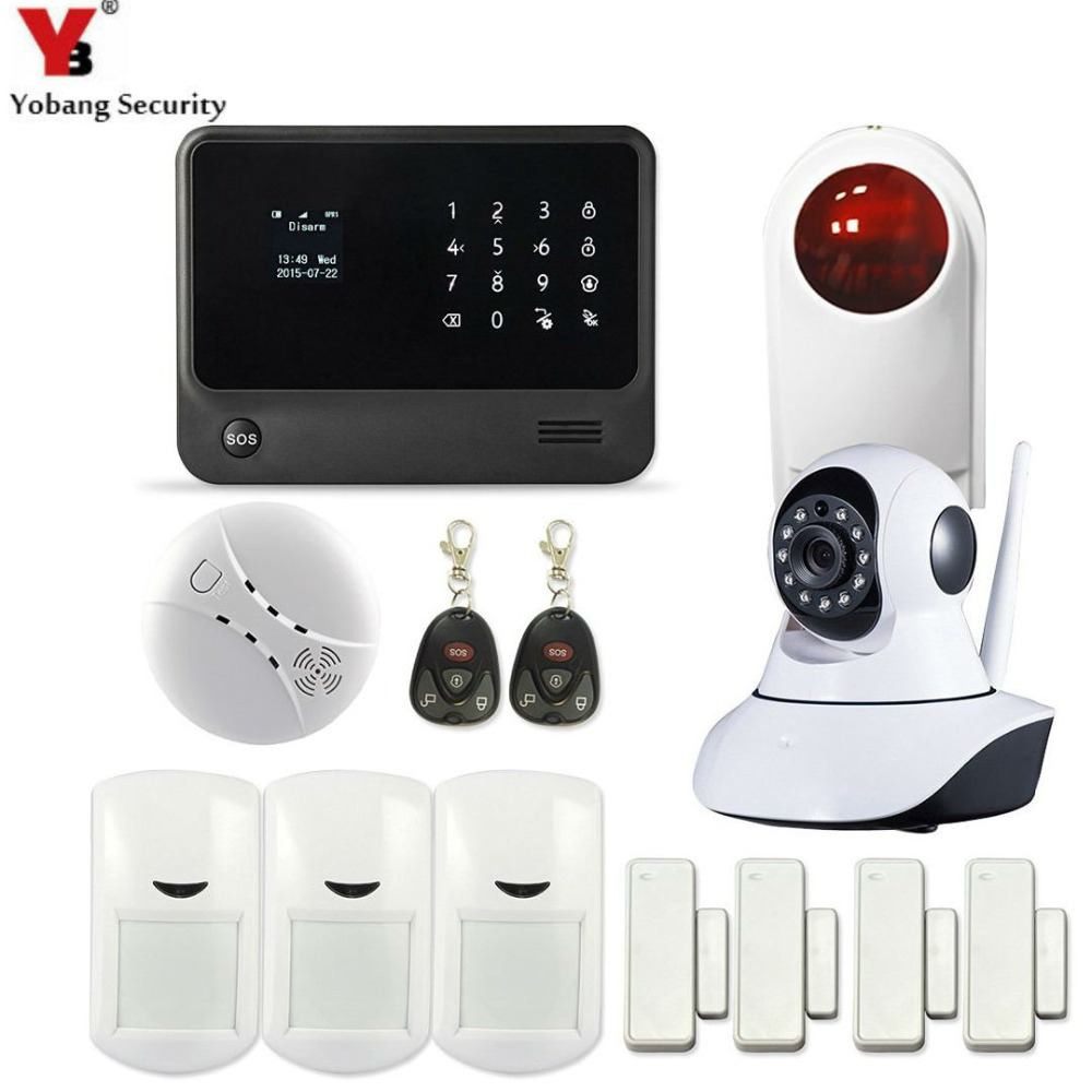 YobangSecurity Touch Keypad WIFI GSM Burglar Alarm System Security Home with APP IP Camera Wireless Flash Siren Smoke Sensor yobangsecurity wifi alarm system wireless flash siren gsm burglar alarm g90b touch keypad app pir detector door gap sensor