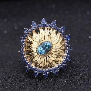 Image 3 - باليه جيمز 1.00Ct الطبيعية السويسري الأزرق توباز خواتم عباد الشمس 925 فضة خاتم يدوي للنساء بيجو مجوهرات راقية