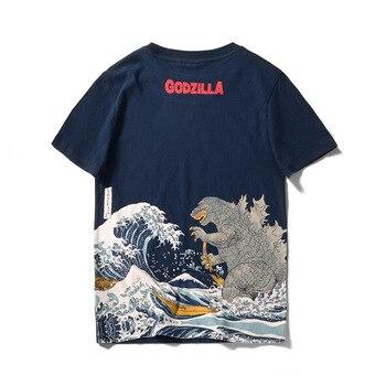 Faousha D'été Marque T-shirt Hommes Godzilla Imprimé Harajuku Casual Tops T-shirts Drôle Chemises Col Rond Coton Camisetas Hombre