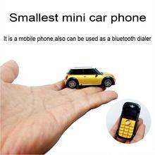 Lindo ultra pequeño mini Bar forma modelo de coche mp3 fm marcador bluetooth linterna niños cobre S1 teléfono celular móvil P098