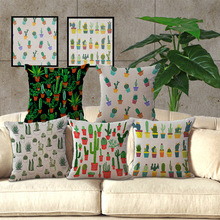 18 »45cm100% Algodón de Lino Square funda de almohada Cojín Textiles Para El Hogar Funda de Almohada Decorativa Casera de cactus Planta Cubre BZ01