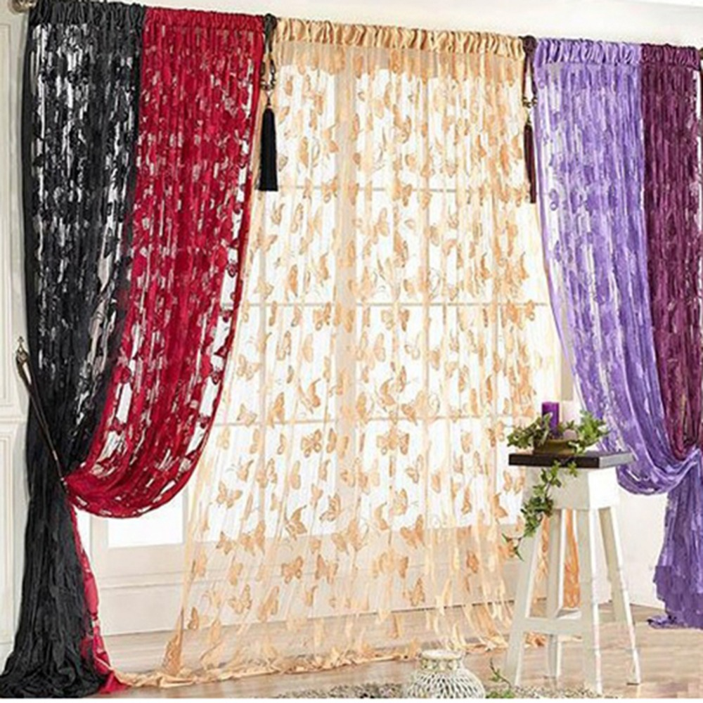 Purple butterfly curtains - Door Curtain Window Butterfly Pattern Tassel String Room Curtain Divider Scarf China Mainland