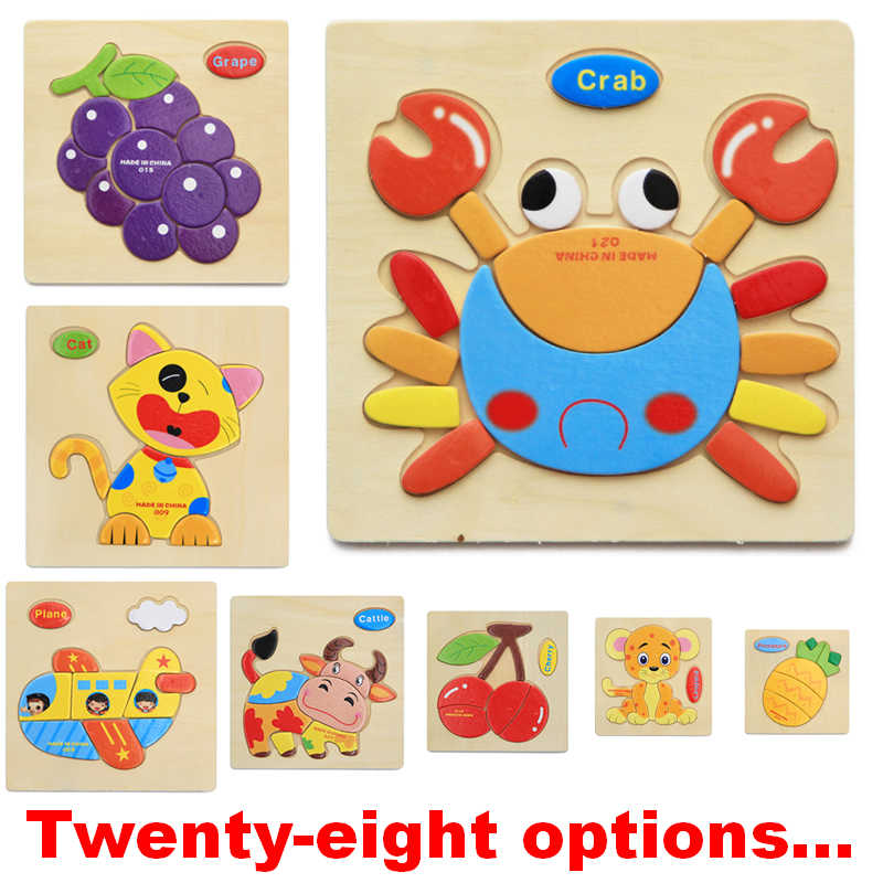 Wooden 3D Puzzle Jigsaw Toys For Children Cartoon Animal Puzzles Intelligence puzzles for kids
