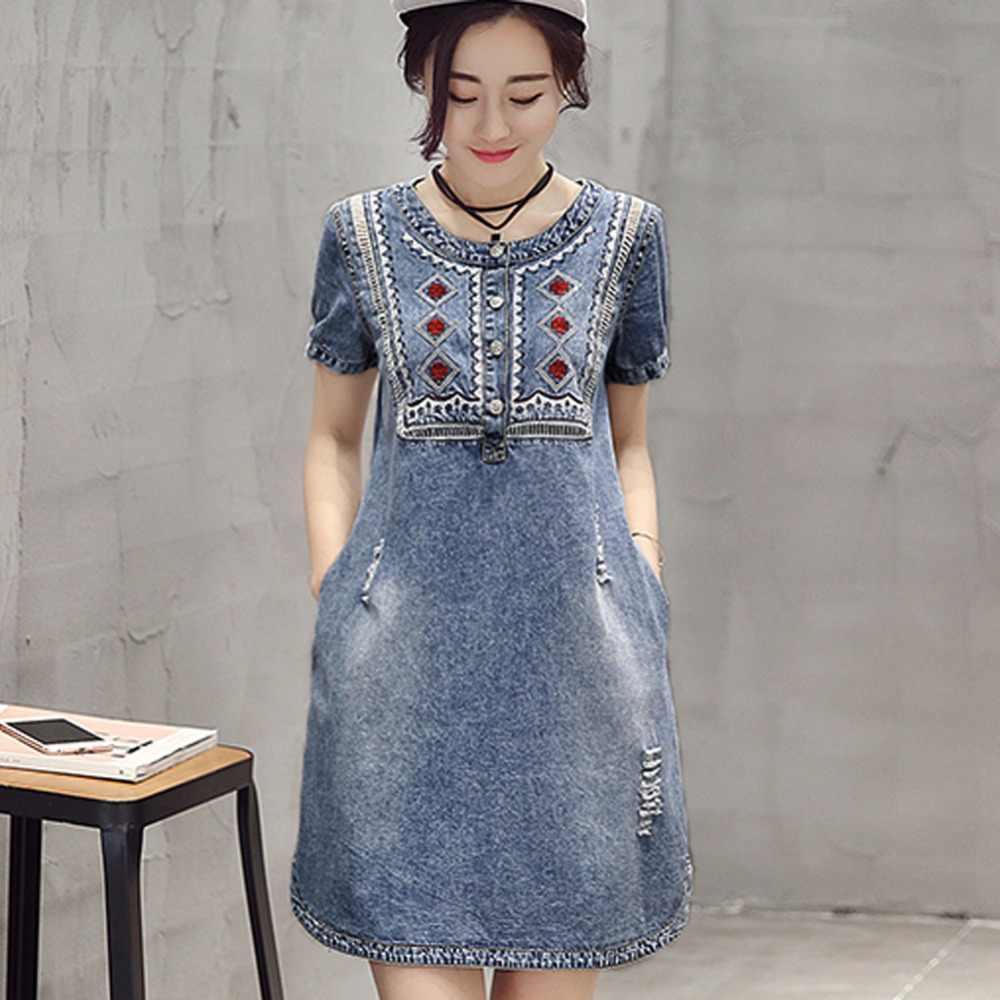 8de84e3e695 2019 Denim Dress Vintage Embroidery Soft Mini Casual Plus Size Women Jeans  Dress