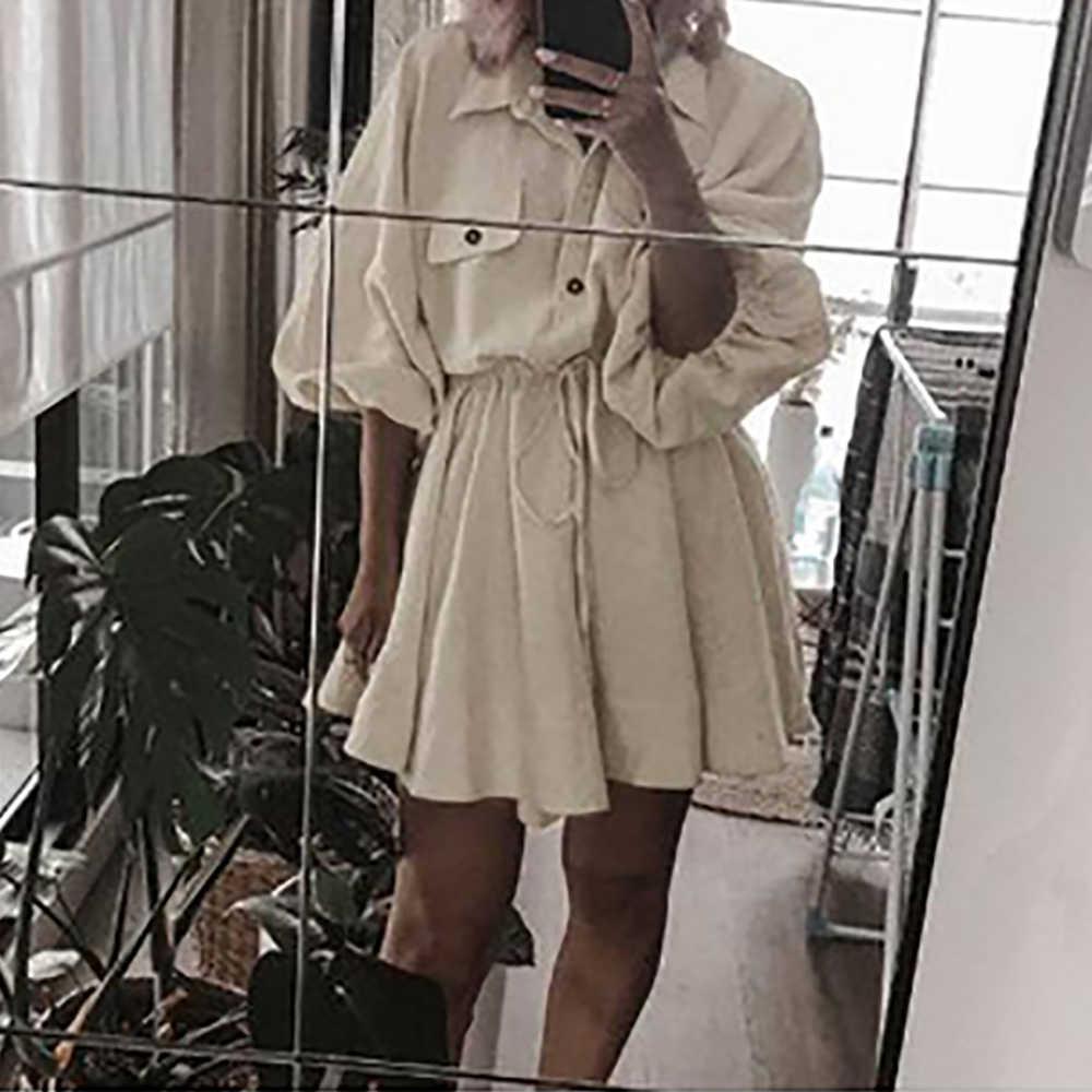 Vrouwen Mode Riem Jurken Linnen Korte Shirt Jurk Lange Mouwen Katoenen Jurk Knoppen Vrouwelijke Vestidos Faldas Mujer Robe De Plage