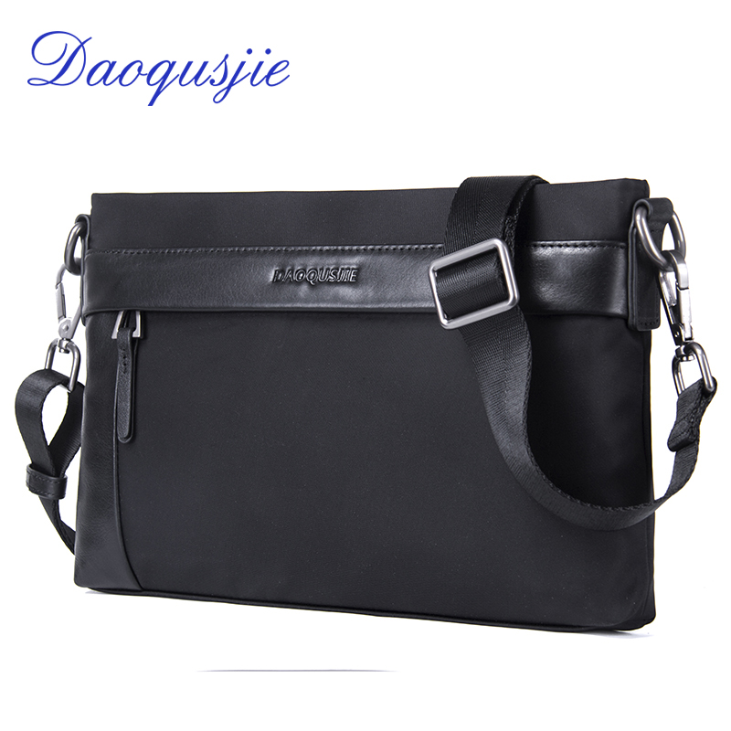 nylon and leather small shoulder bags for men waterproof clutch bag top quality fashion messenger bag casual style crossbody bag jason tutu promotions men shoulder bags leisure travel black small bag crossbody messenger bag men leather high quality b206