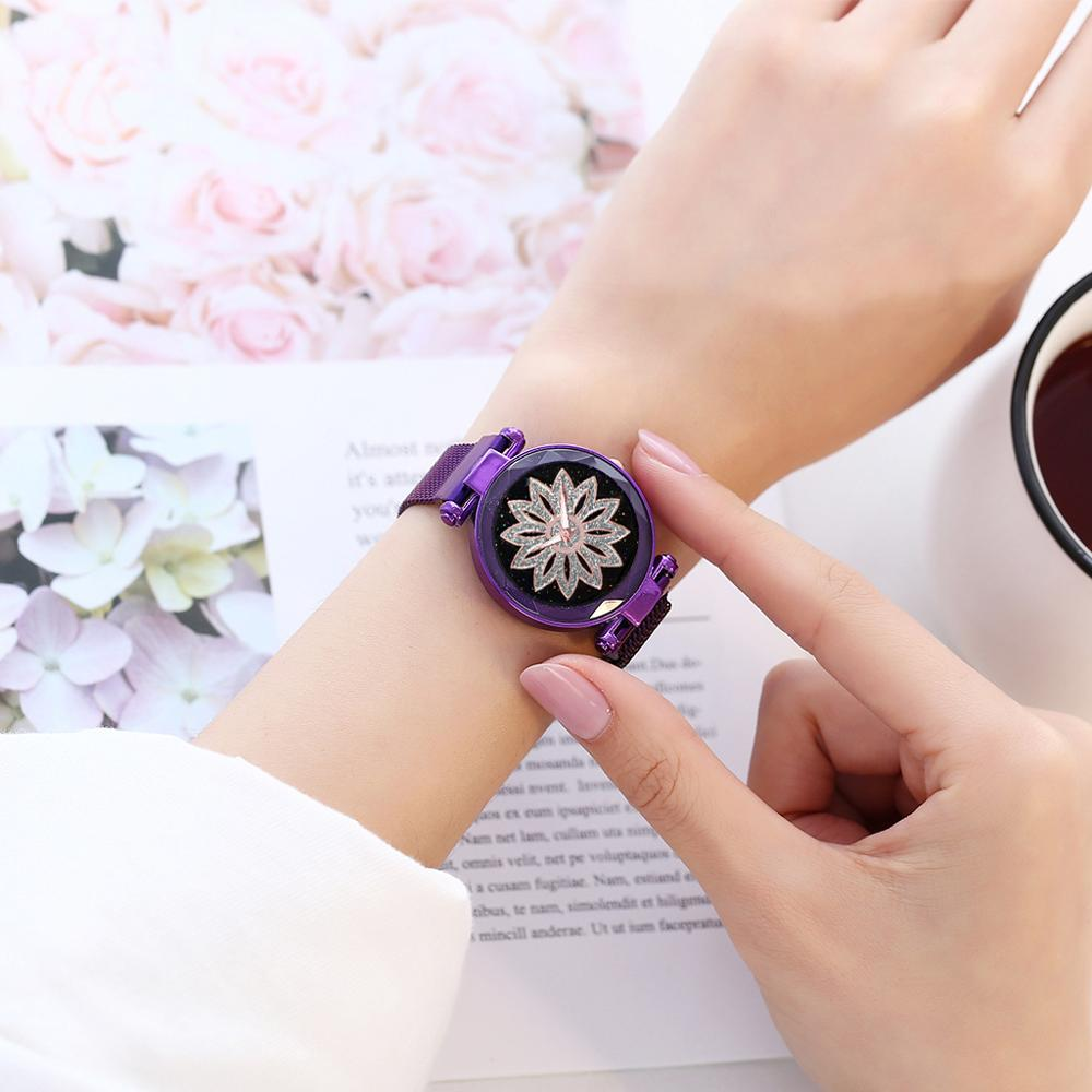 Women Magnetic Watches Lucky Flower Watch Luxury Diamond Starry Sky Female Clock Ladies Steel Quartz Wristwatch relogio feminino in Women 39 s Watches from Watches
