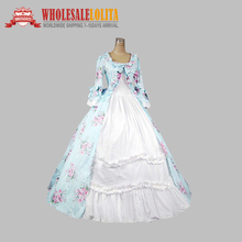 2014 Time-limited New Natural Satin Full Beautiful Floral Print Period Dress Victorian Inspired Dress
