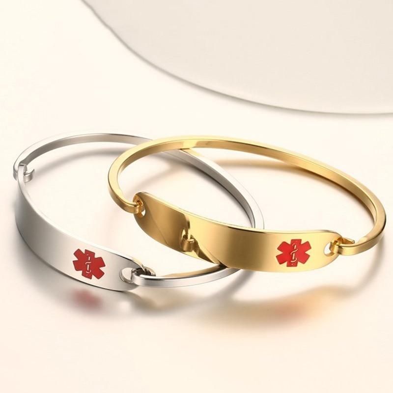 Vnox Freies Gravur Edelstahl Medical Alert ID Armreif Armband für Männer Frauen Silber/Gold Farbe 2,36