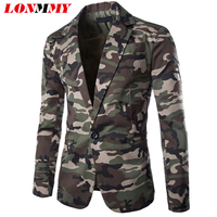 LONMMY Camouflage suit men Cotton Military style Male blazer masculino slim fit mens clothing mens blazer jacket Slim fit Casual