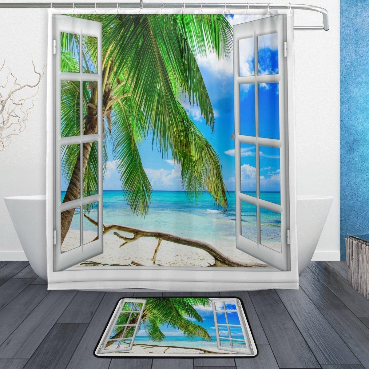 Beach Ocean Theme Shower Curtain and Mat Set, Tropical Palm Tree White Window Waterproof Fabric Bathroom Curtain